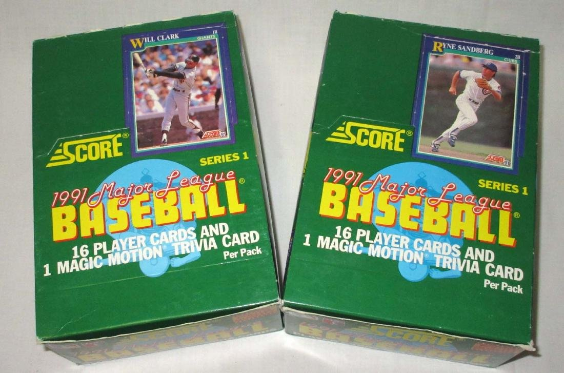 2 Factory Boxes 1991 Score Baseball Cards