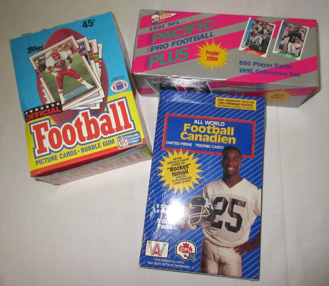 Box of 1989 Topps & 2 Boxes 1991 Football Cards
