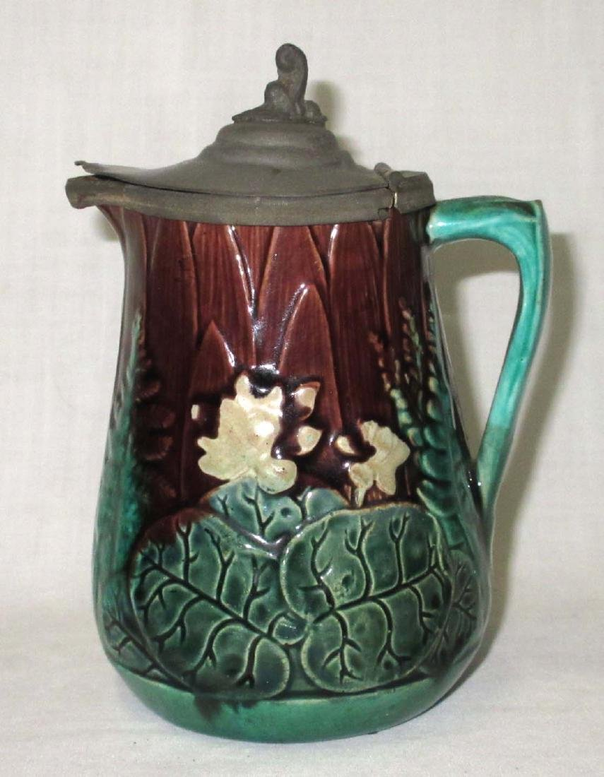 Majolica Syrup Pitcher w/ Tin Lid