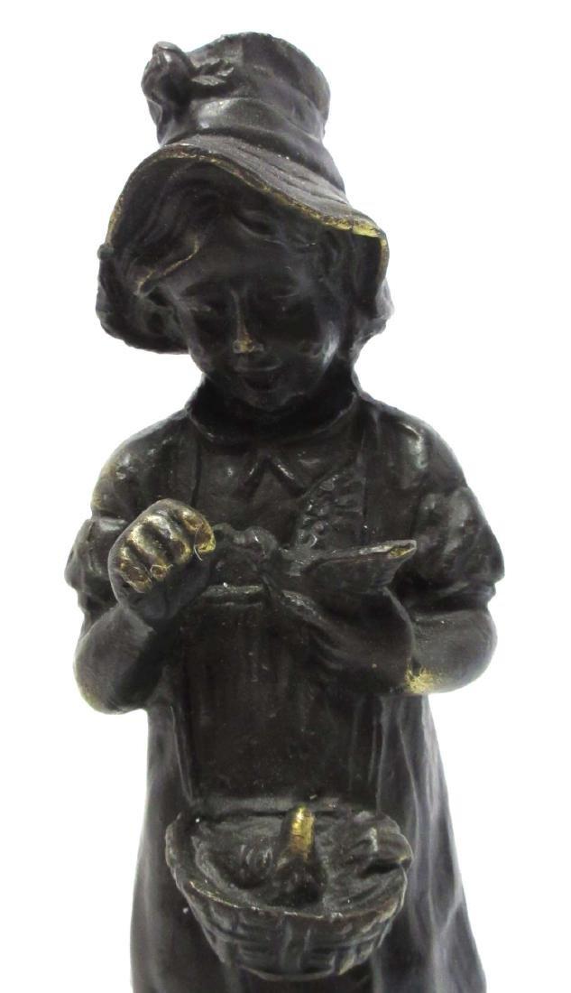 Bronze Statue of Girl w/ Birds - 2