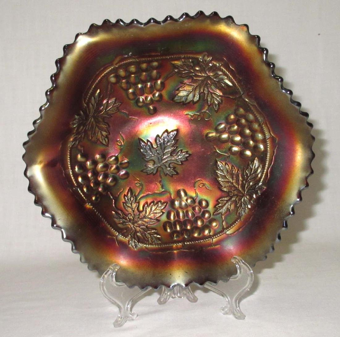 "Northwood ""Grape & Cable"" Carnival Glass Bowl"