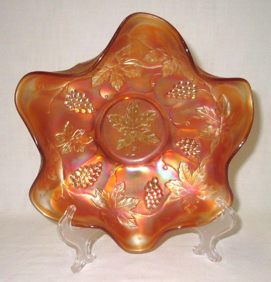 """Grapes"" Carnival Glass Bowl"
