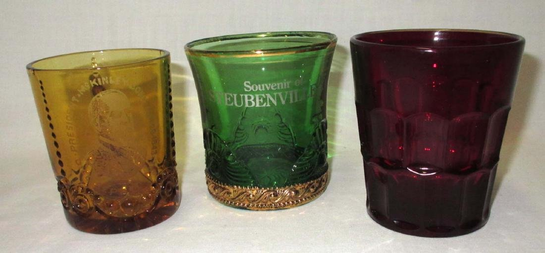 President McKinley Cup & 2 Colored Glass Tumblers