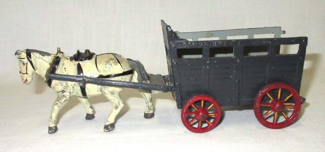 Lead Horse & Wagon Toy