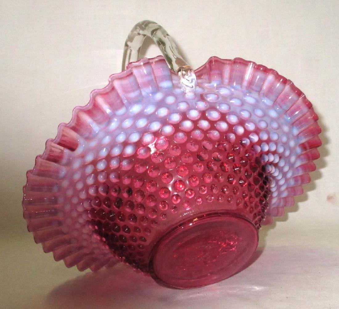 Fenton Cranberry Opalescent Basket - 3