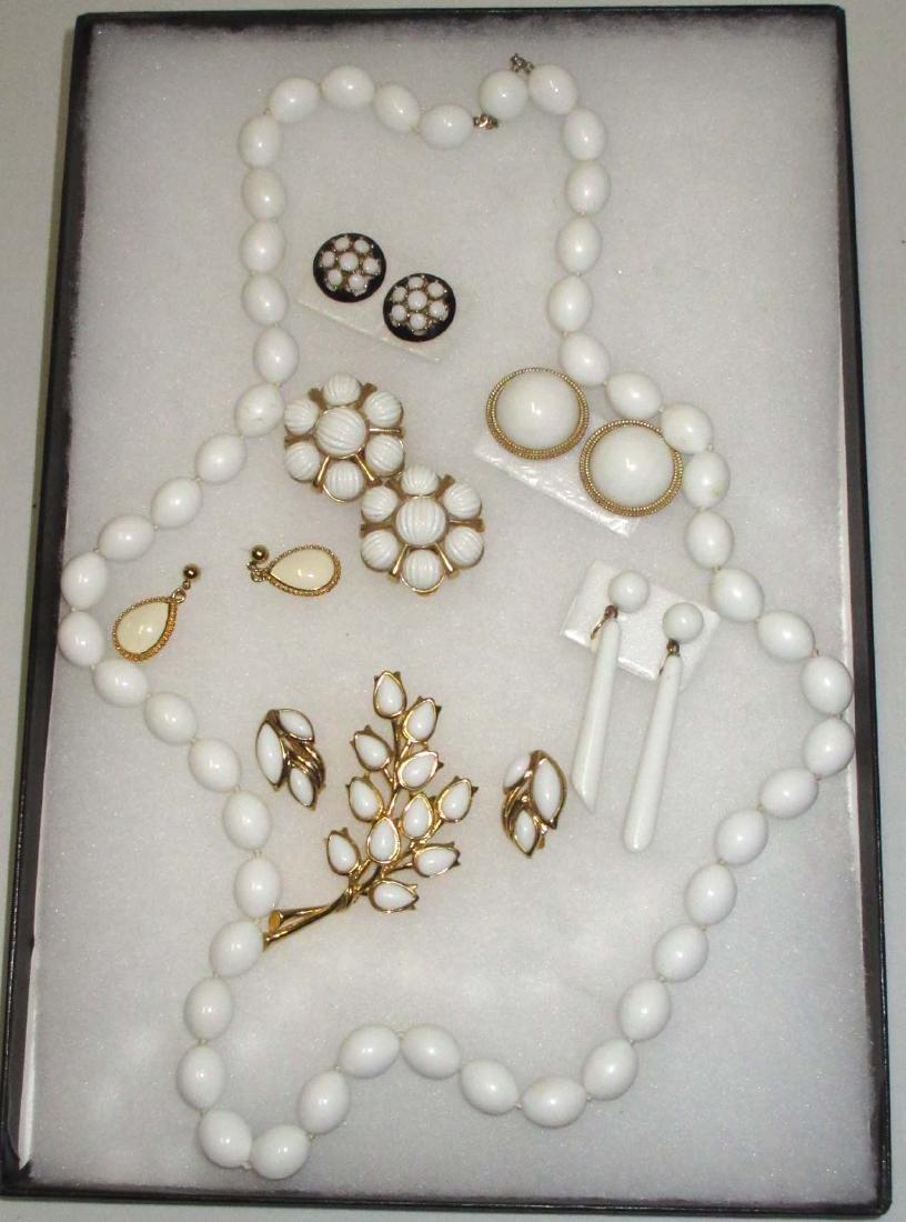 """Trifari"" 1950's 8pc. White Jewelry"