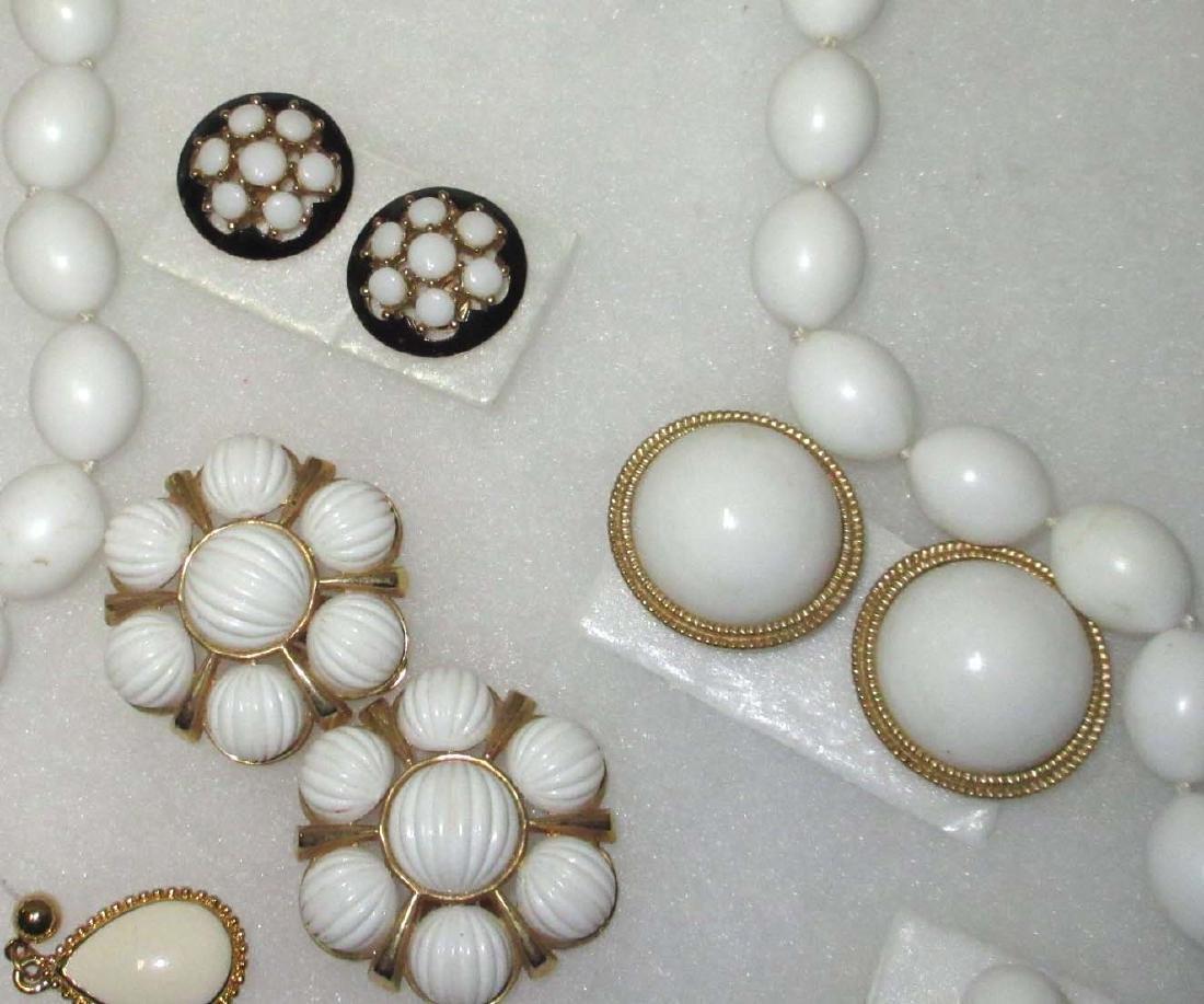 """Trifari"" 1950's 8pc. White Jewelry - 2"