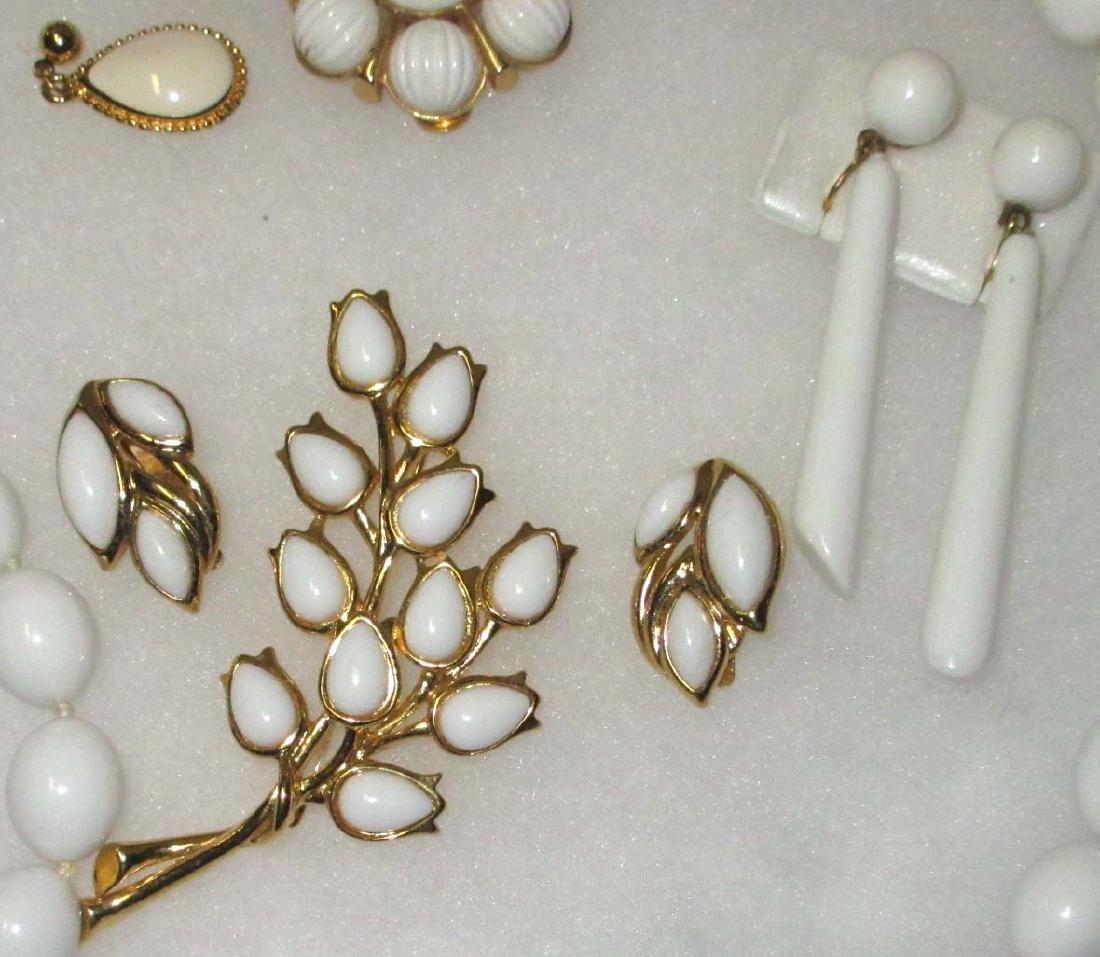 """Trifari"" 1950's 8pc. White Jewelry - 3"