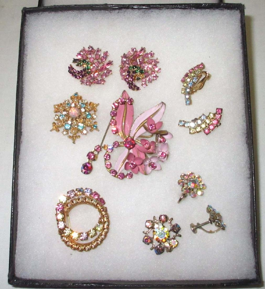 Pretty Pastel Rhinestone 7pc. Jew. Coll.