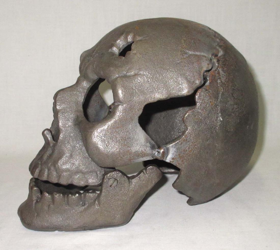 Modern Life Size Cast Iron Skull - 2