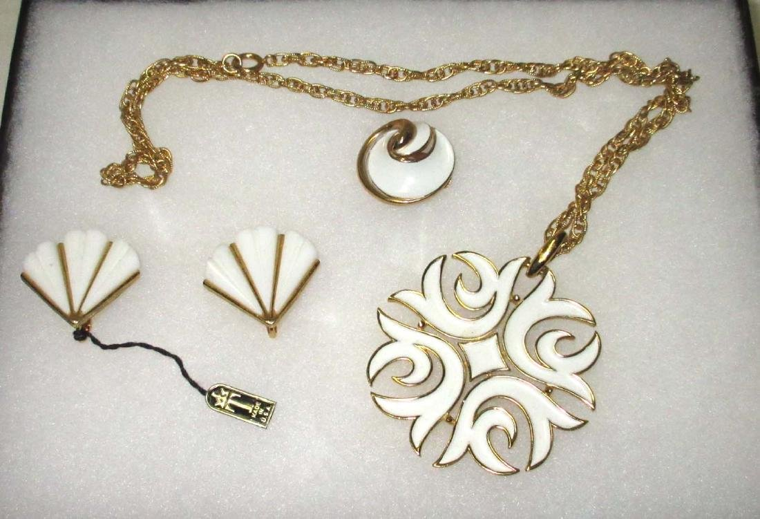 "1950's ""Trifari"" Original Tag Earrings + Necklace"