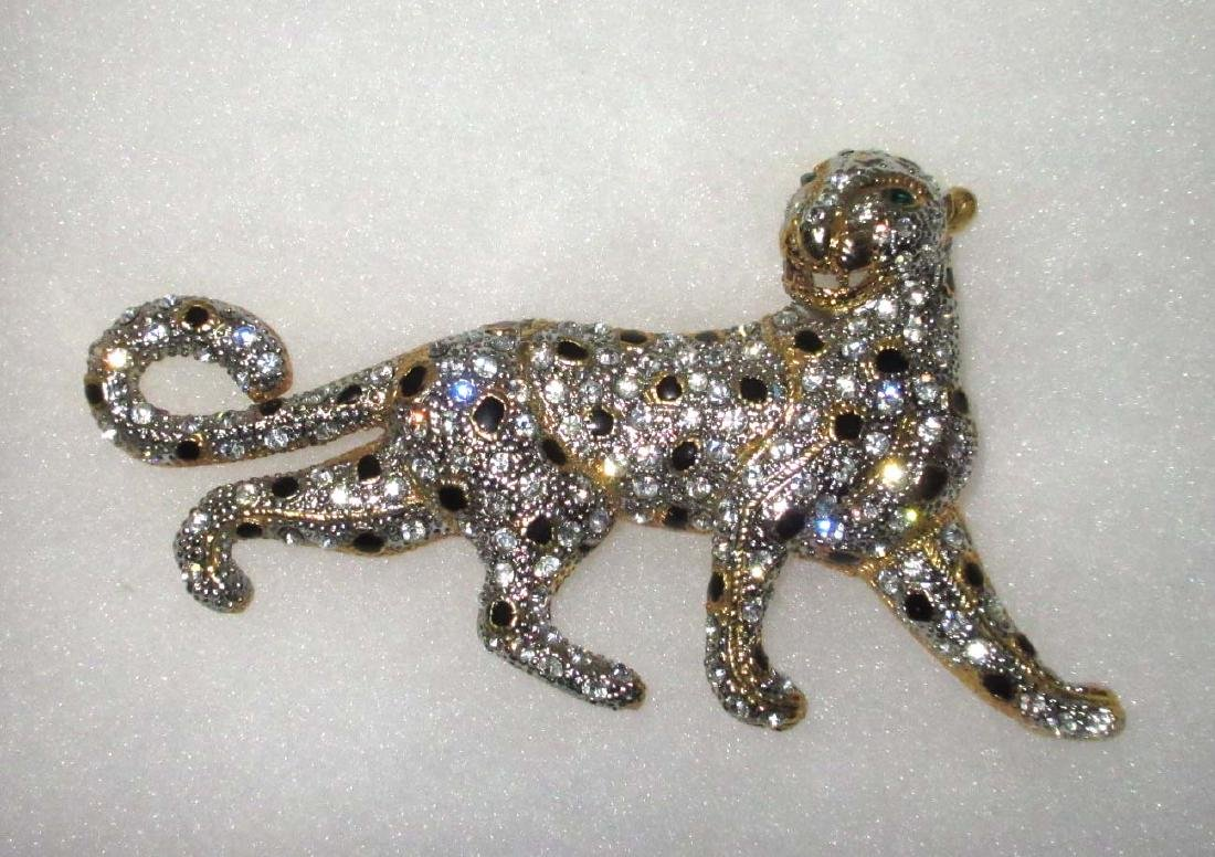 HUGE Enameled/Rhinestone Leopard Brooch
