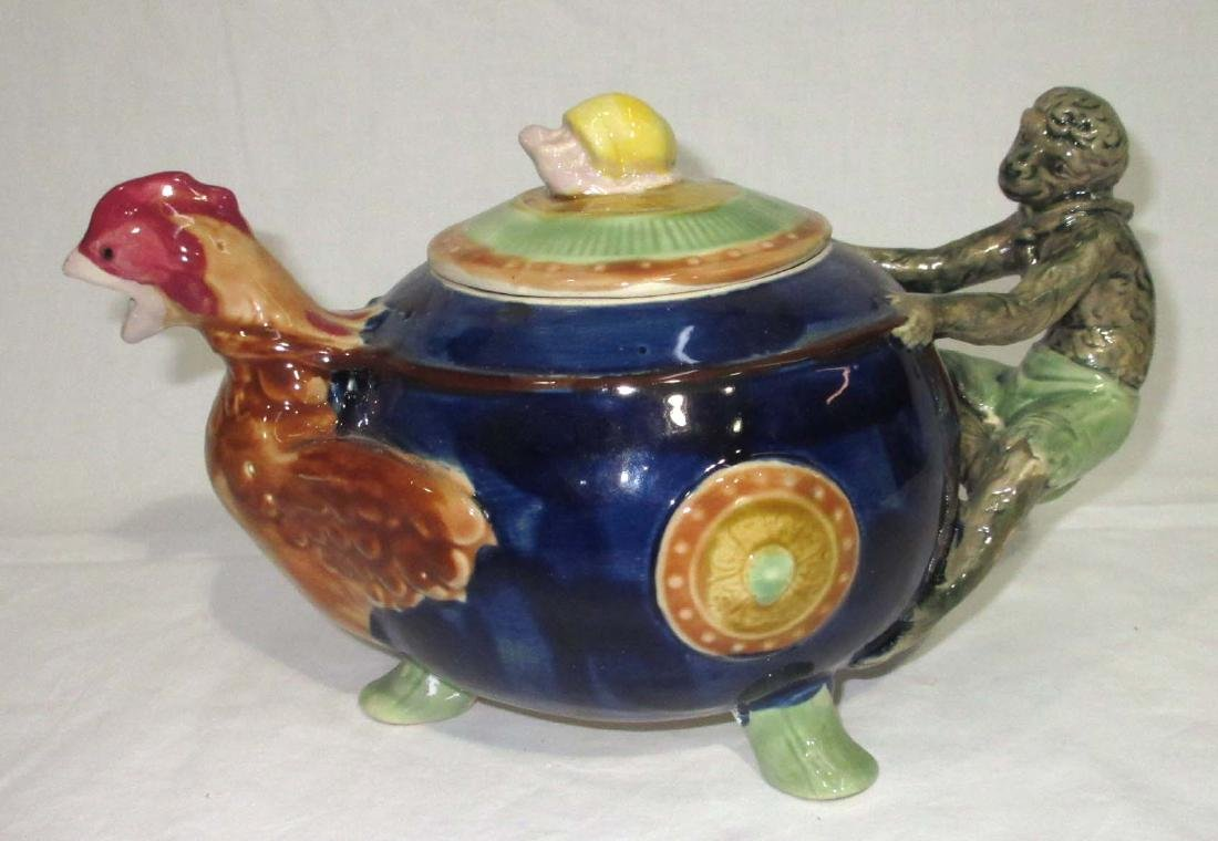 Modern Monkey & Rooster Majolica Tea Pot