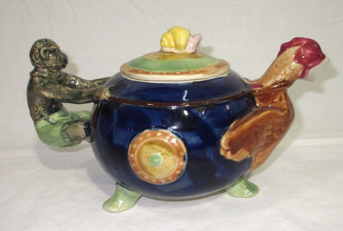Modern Monkey & Rooster Majolica Tea Pot - 2