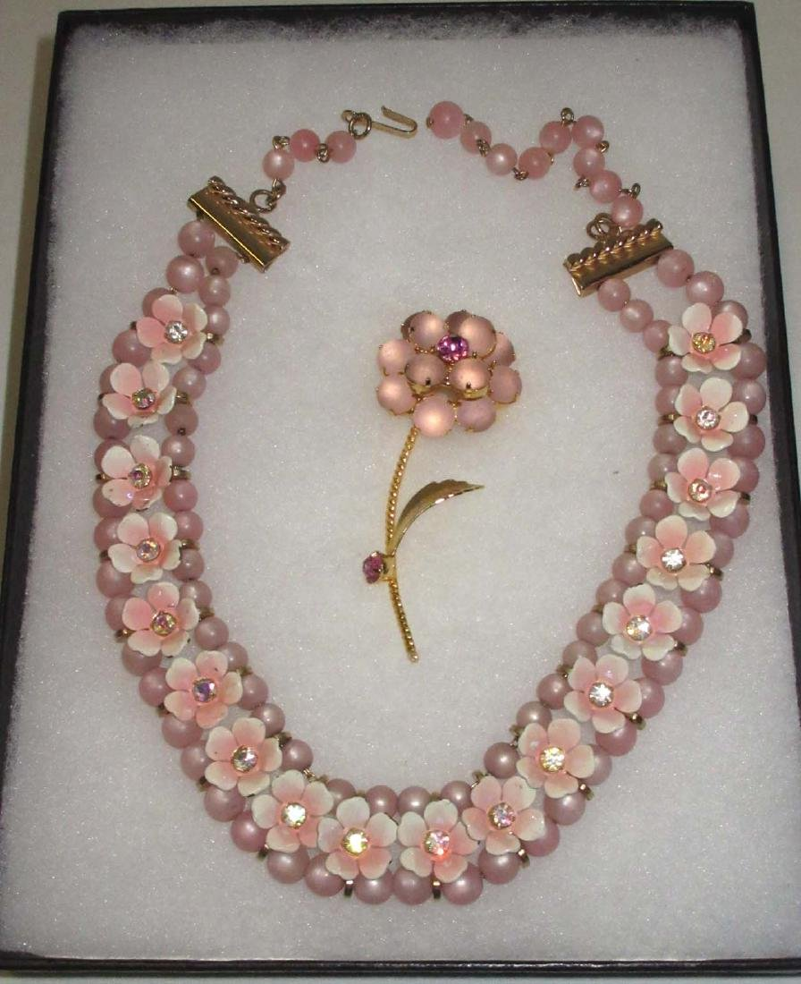 Beautiful Un-Sgnd Pink Choker & Flower Pin