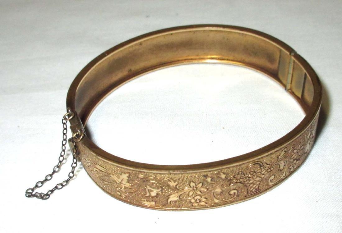 1/20- 10kt G.F.'d Antique Hinged Bracelet
