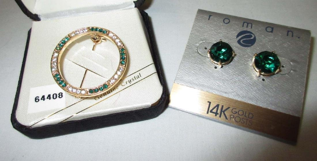 """Roman"" Crystal/Green Pin & 14kt. Emerald Gr. Gls Earr."