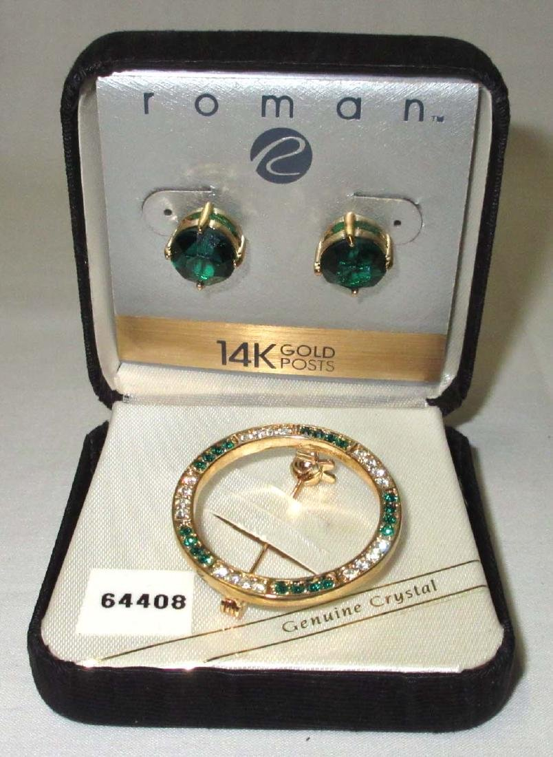 """Roman"" Crystal/Green Pin & 14kt. Emerald Gr. Gls Earr. - 2"