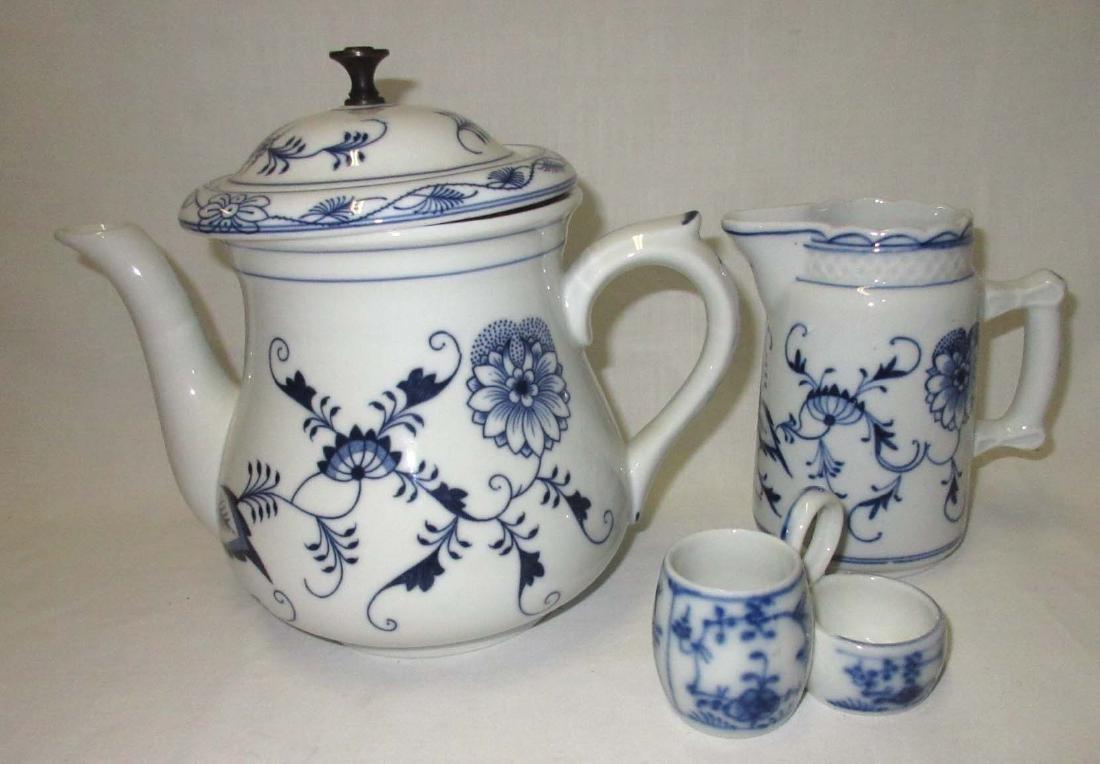 Sgnd Czech. Blue & White 3pc Teapot Plus 2 Others