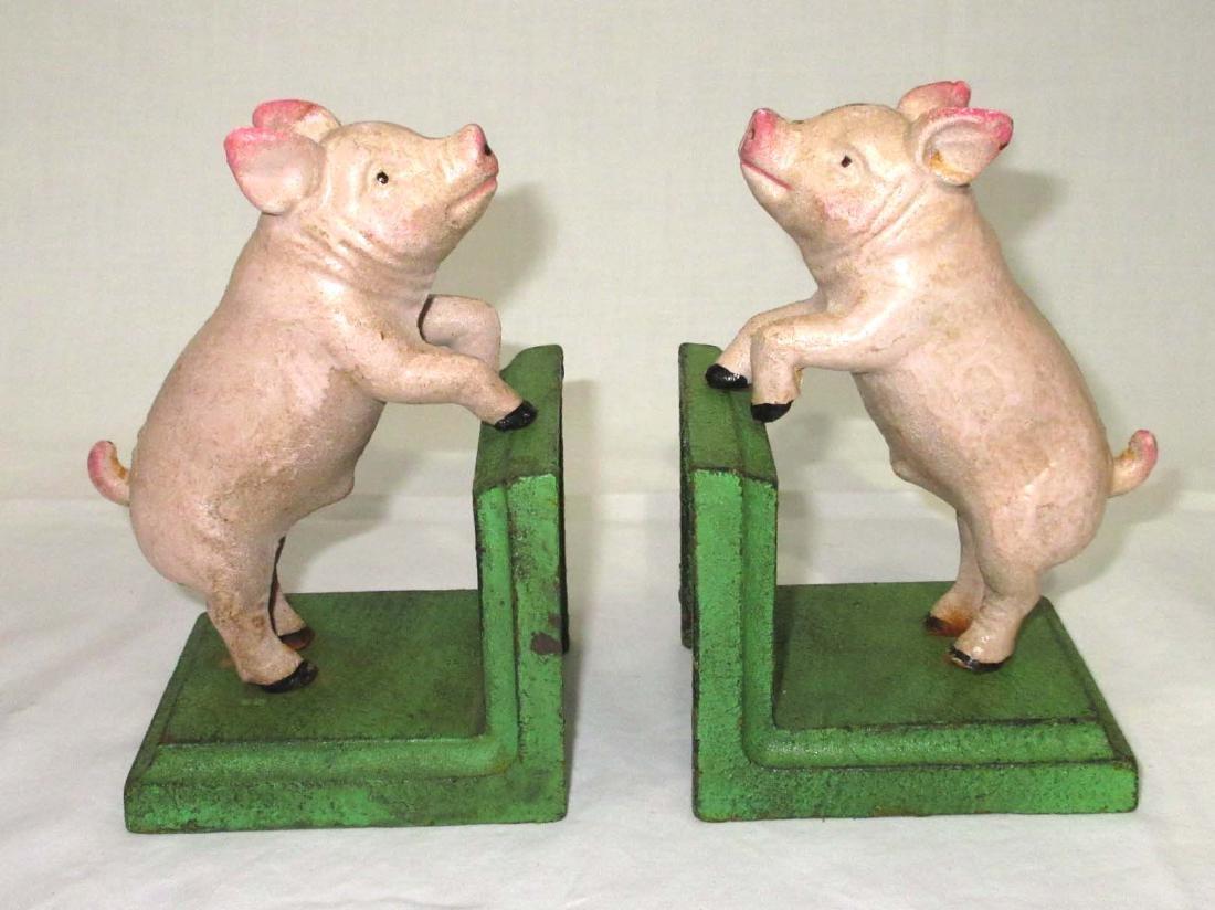 2 Modern Cast Iron Pig Bookends