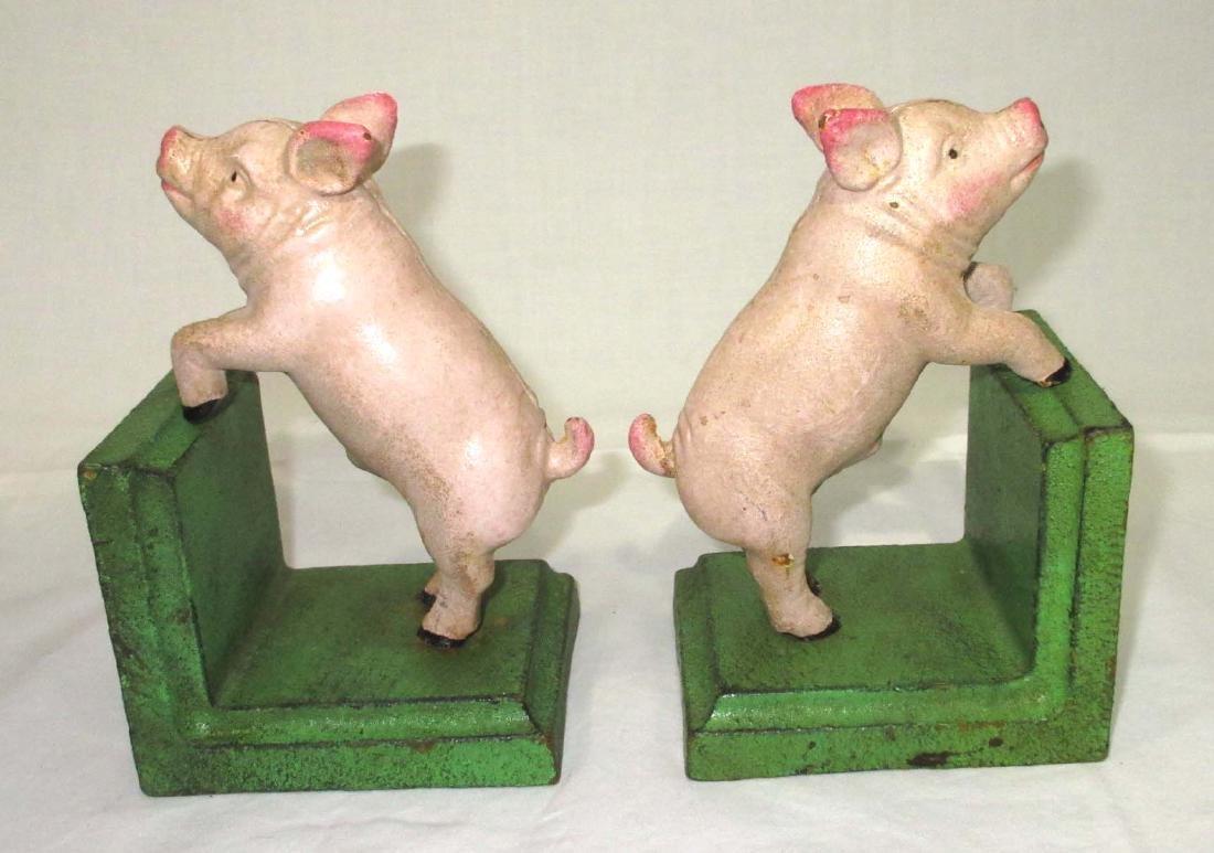 2 Modern Cast Iron Pig Bookends - 2