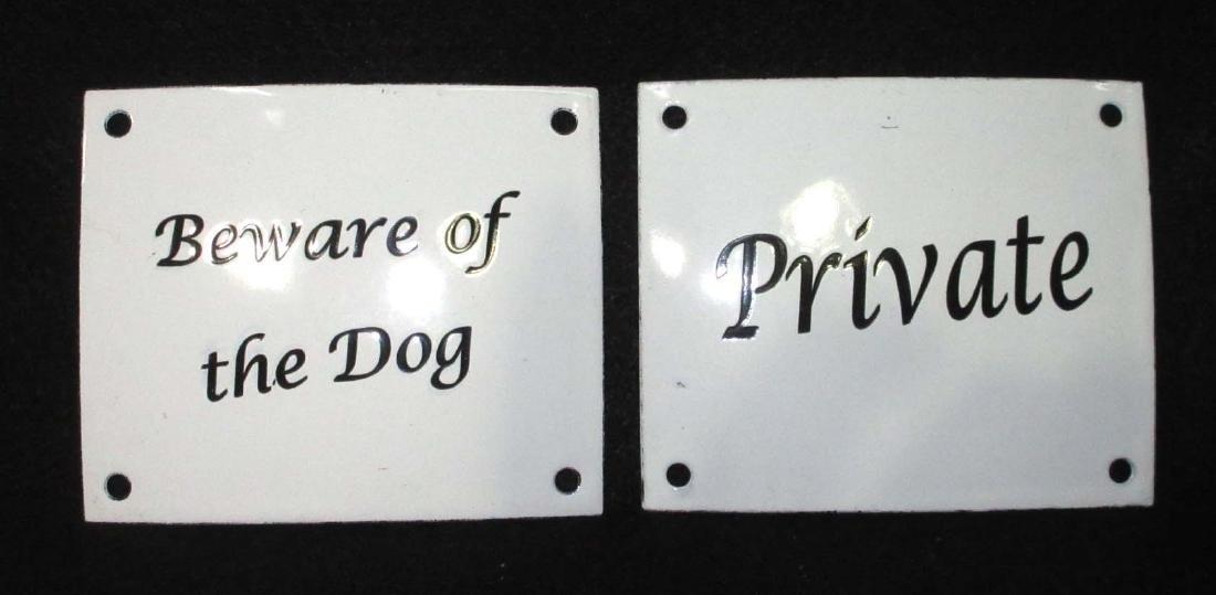2 Modern Porcelain Signs