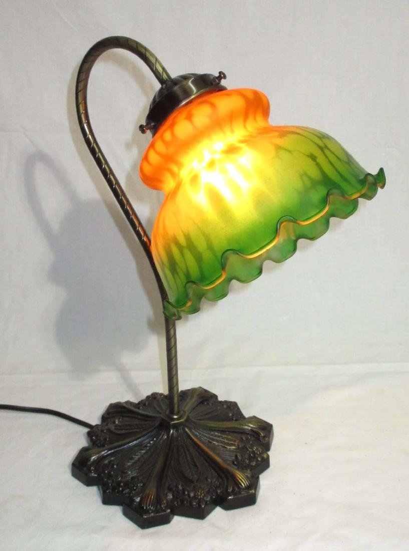 Modern Desk Lamp w/ Art Glass Shade