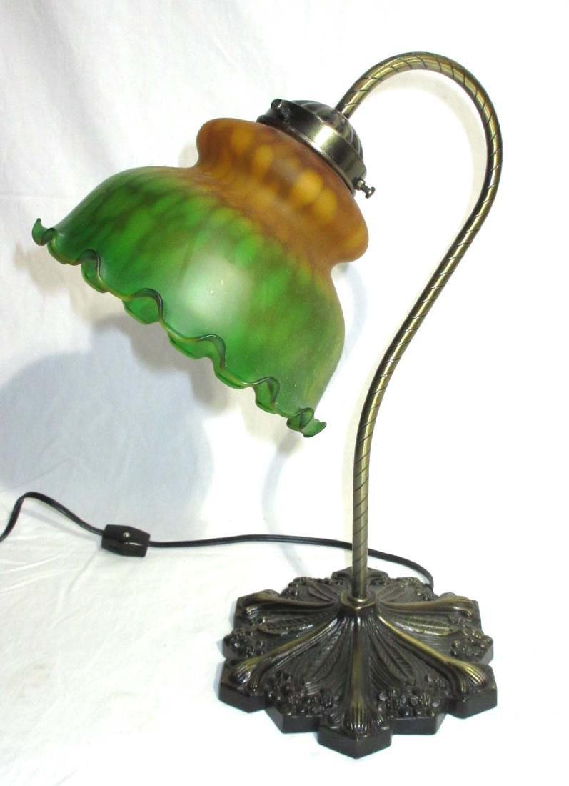 Modern Desk Lamp w/ Art Glass Shade - 2