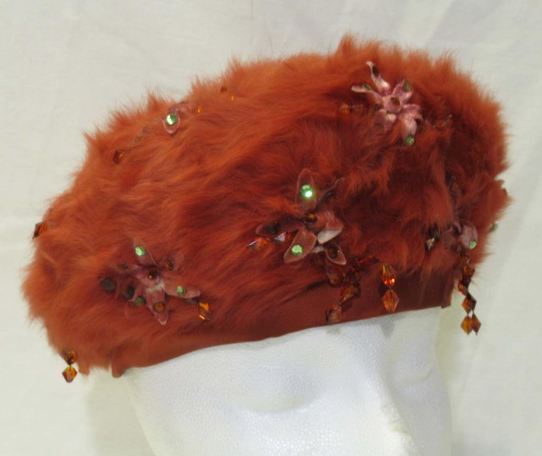 Christian Dior Burnt Orange Beaded Fur Felt Beret