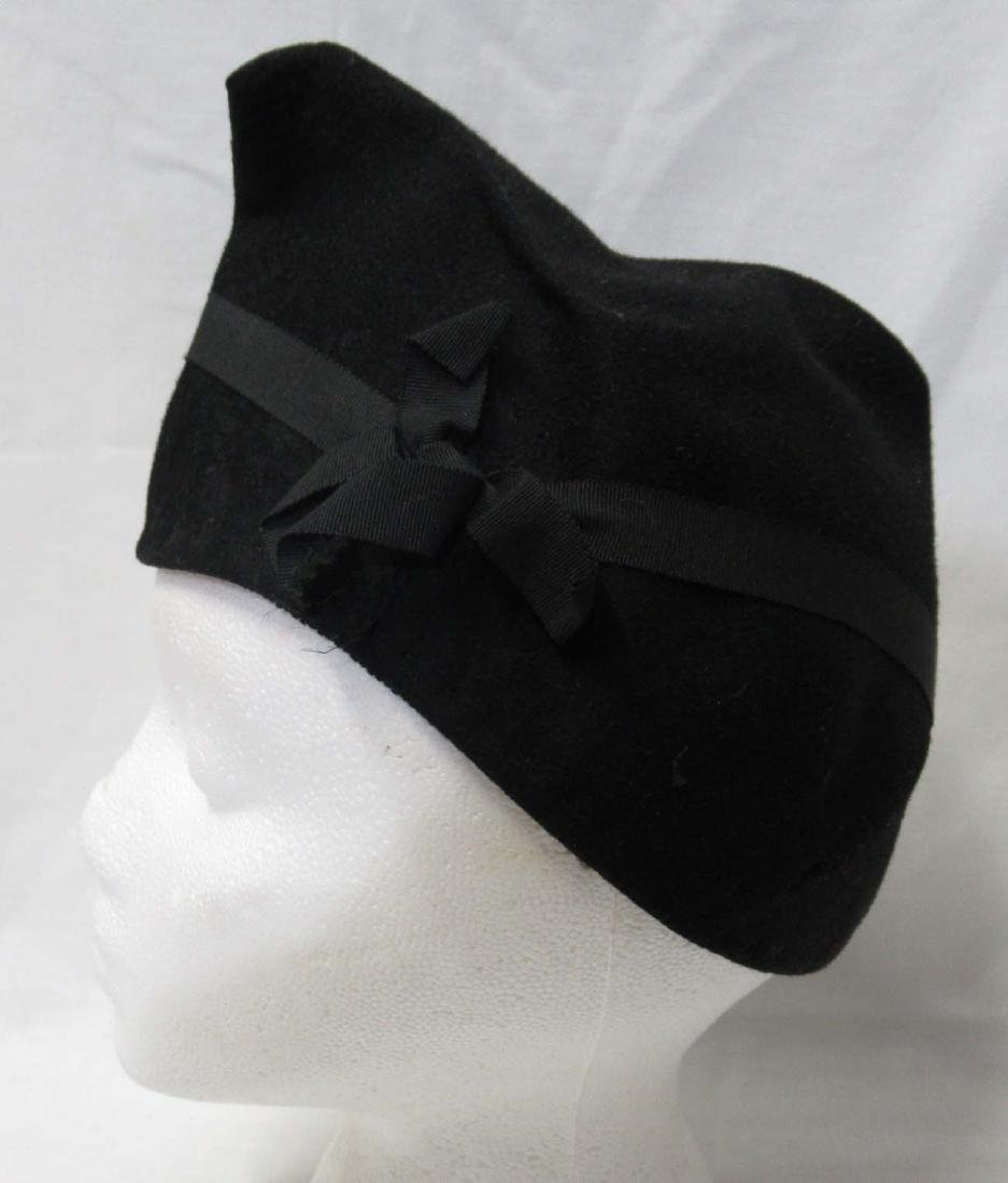 Cute Military Style 40's Black Felt Cap