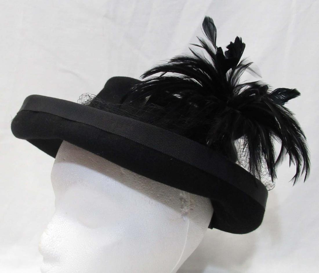 Black Feathered Felt Breton Hat