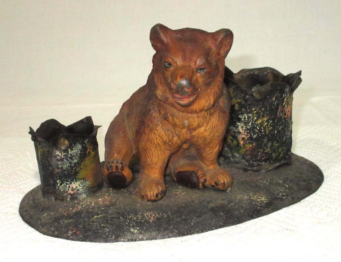 Early Cast Metal Bear Match Safe