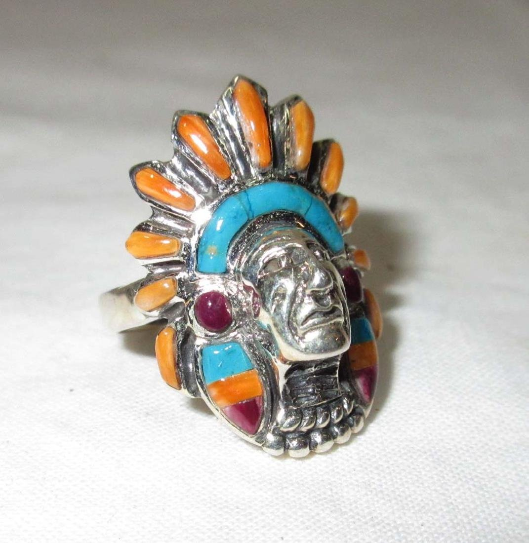 Sterl. Turq. & Coral Native American Ring