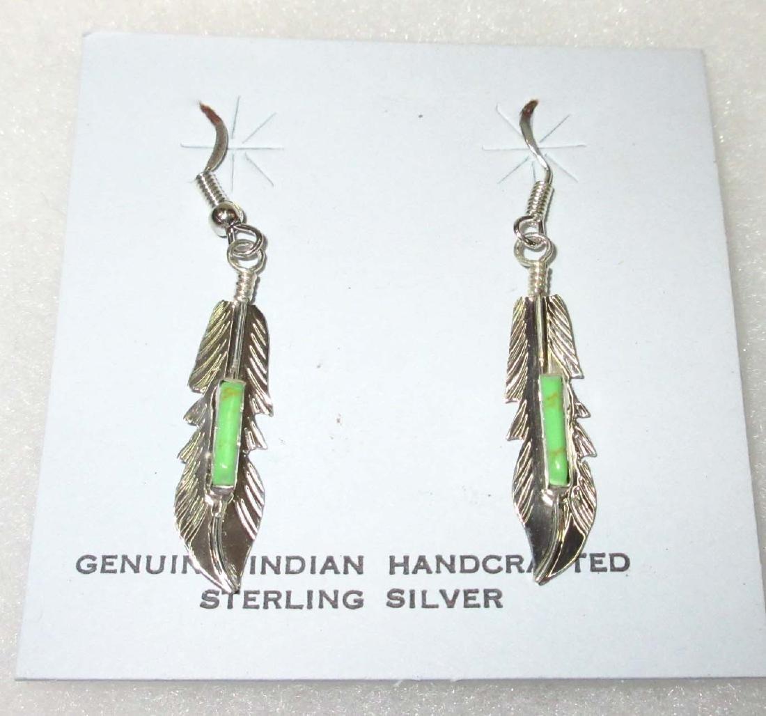 Sterl. Gaspeite Inlay Navajo Earrings