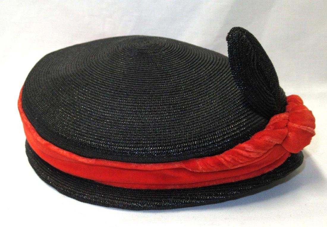 """Janet"" Black Straw & Orange Velvet Hat"