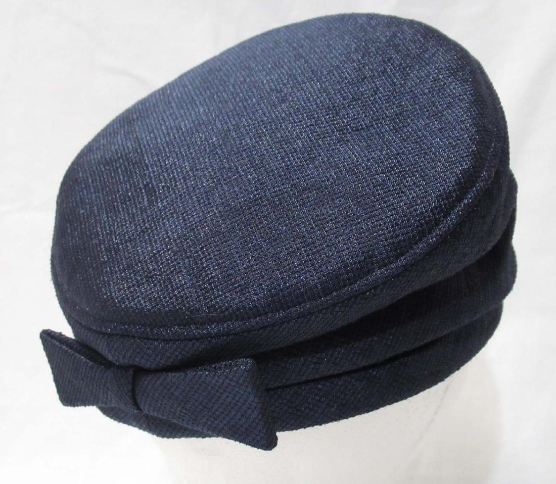 Mr John (Red Velvet Bow) Structured Turban Navy Hat