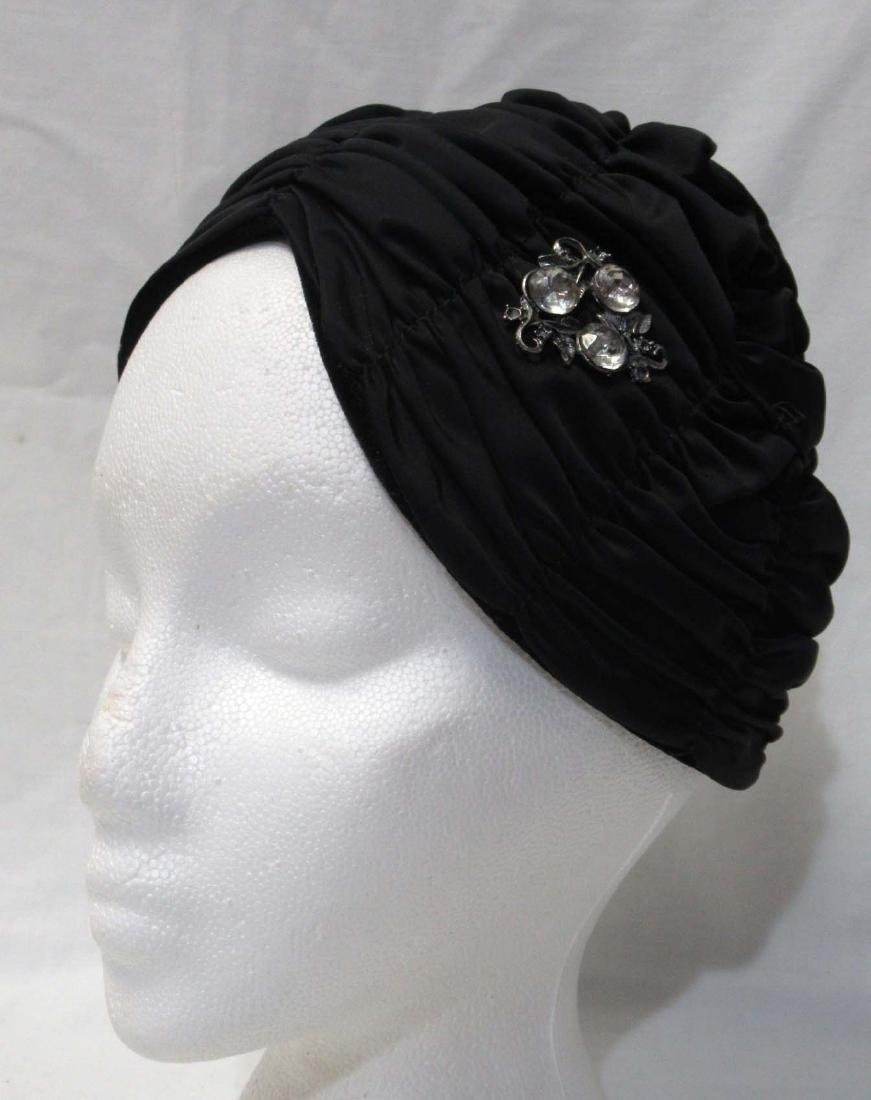 "Custom Made Black Satin ""Vogue Mont' Turban"