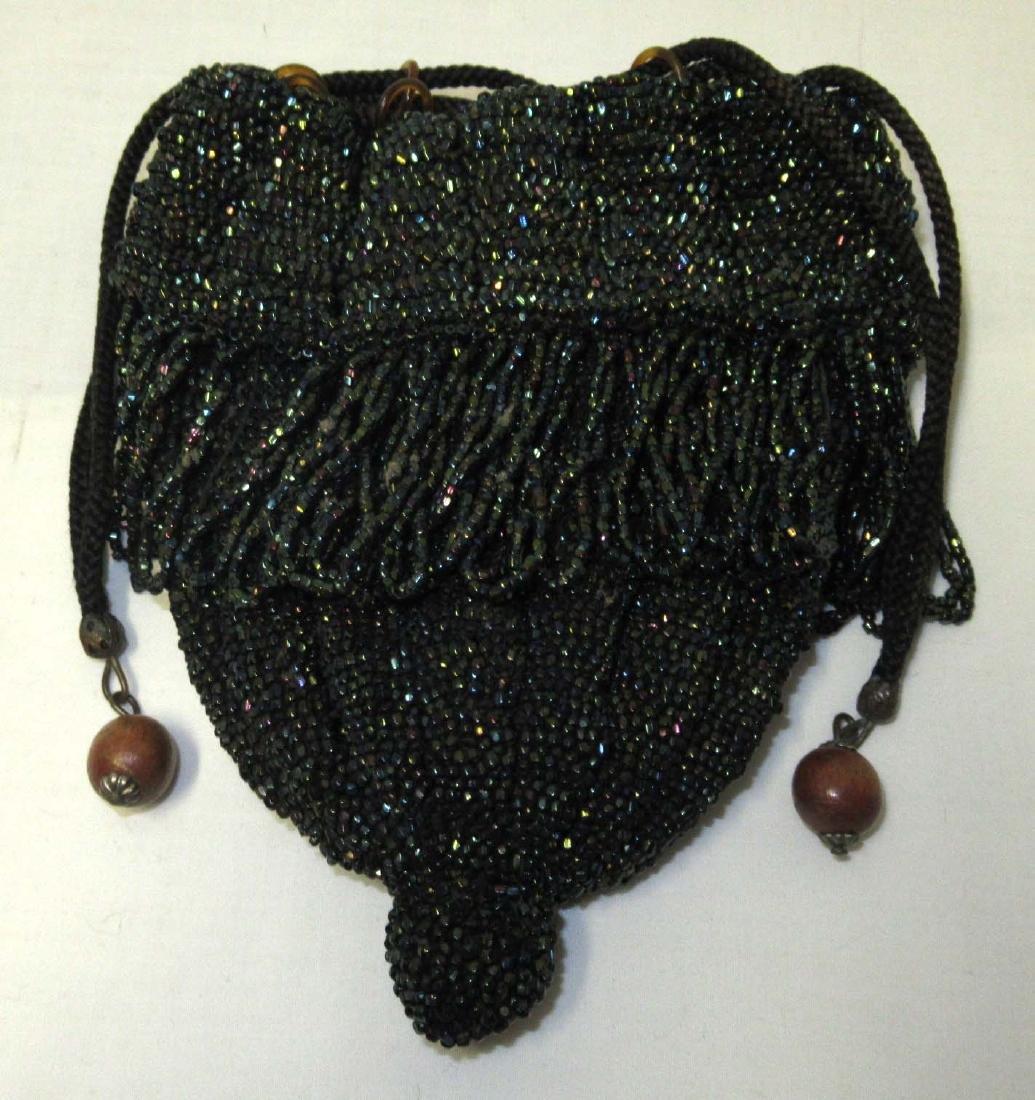 Antique Peacock Iridescent Glass Bead Bag