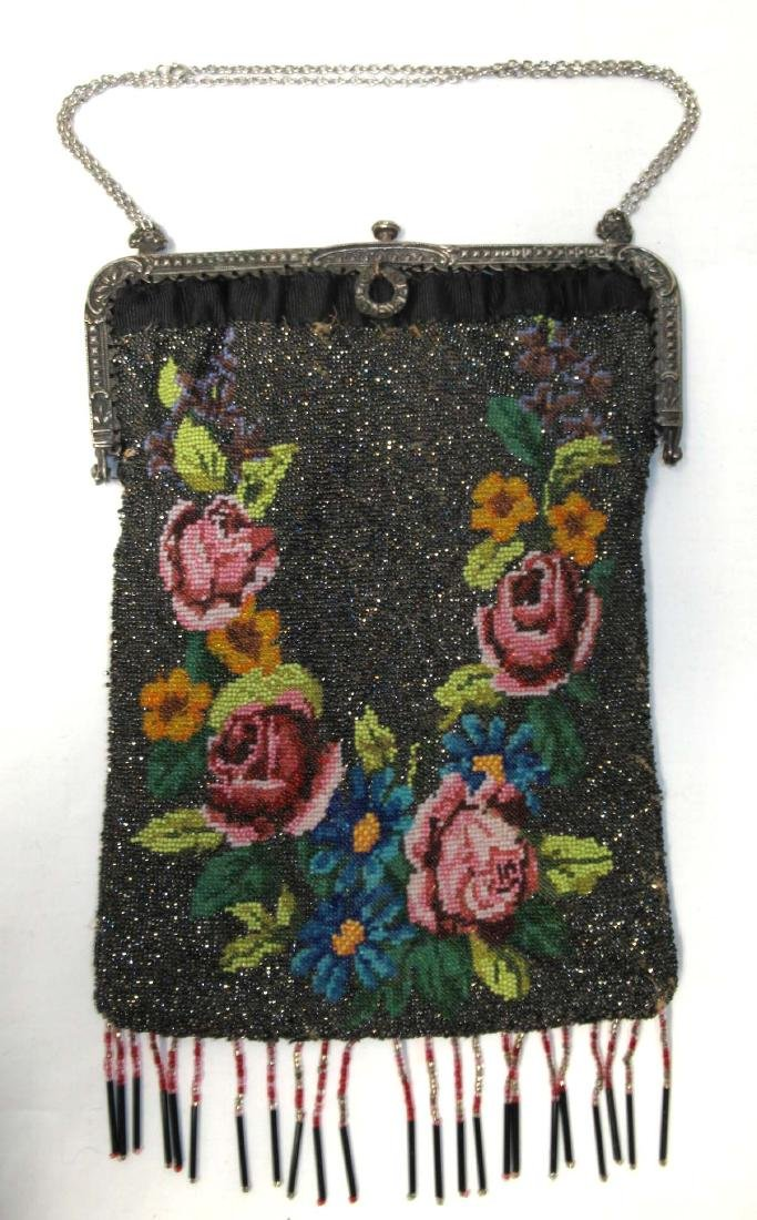 Antique Micro Beaded Rose Floral Bag