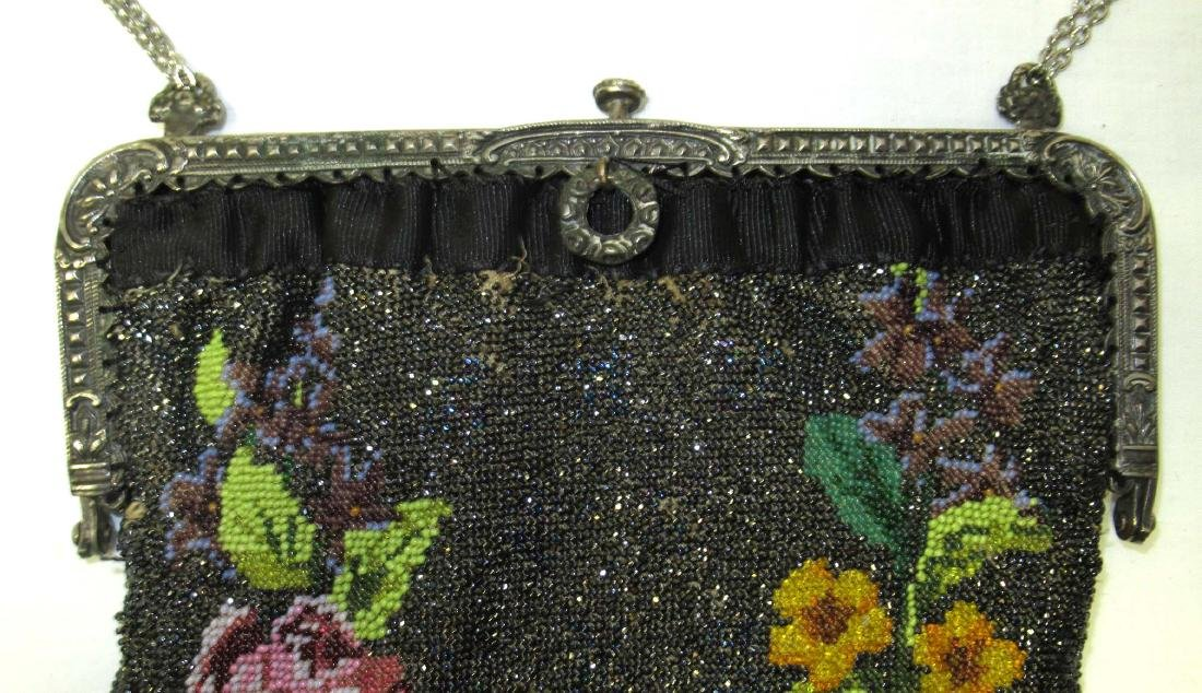 Antique Micro Beaded Rose Floral Bag - 2
