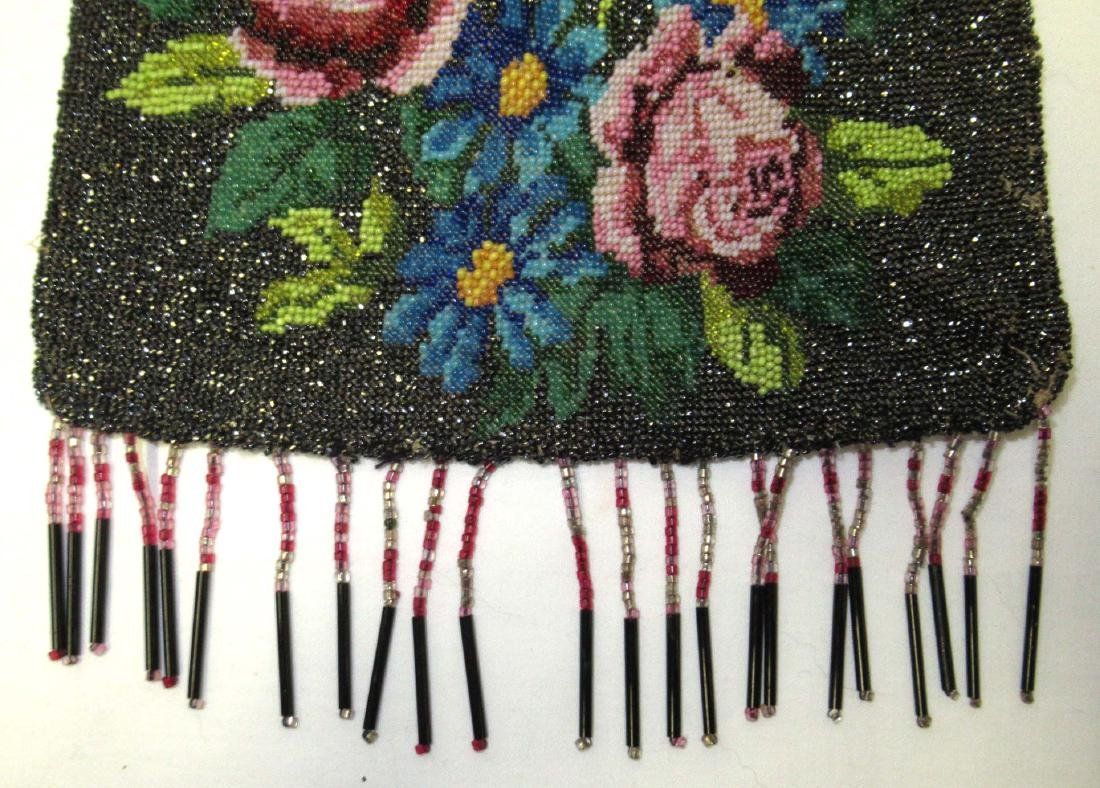 Antique Micro Beaded Rose Floral Bag - 3