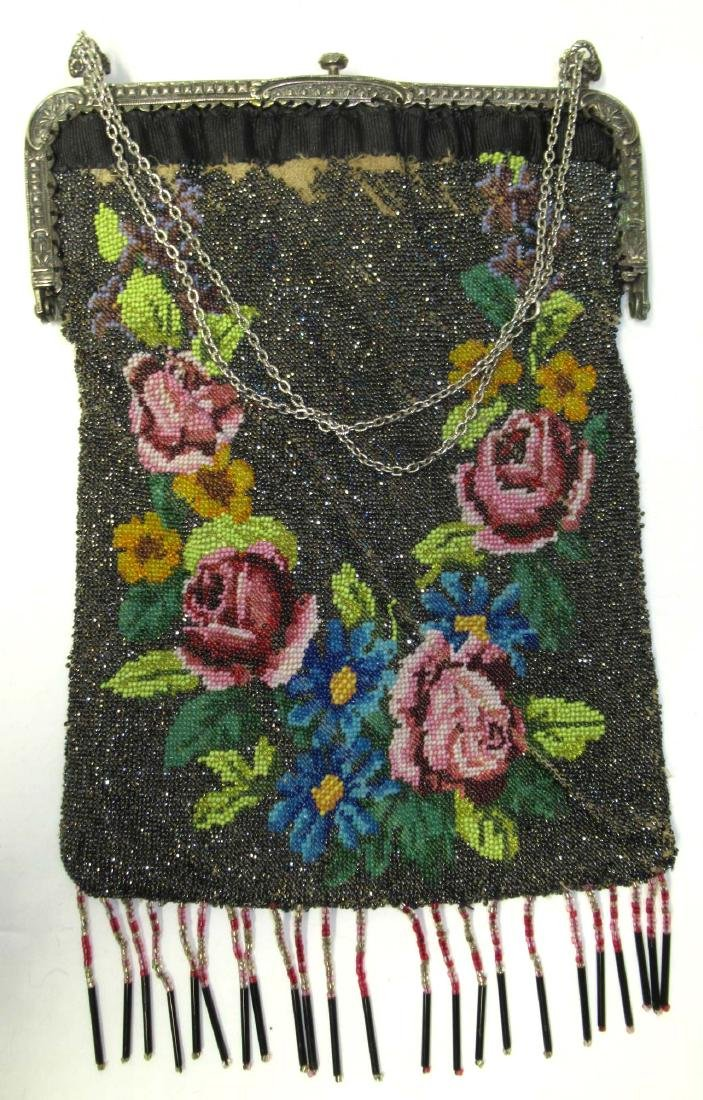 Antique Micro Beaded Rose Floral Bag - 4