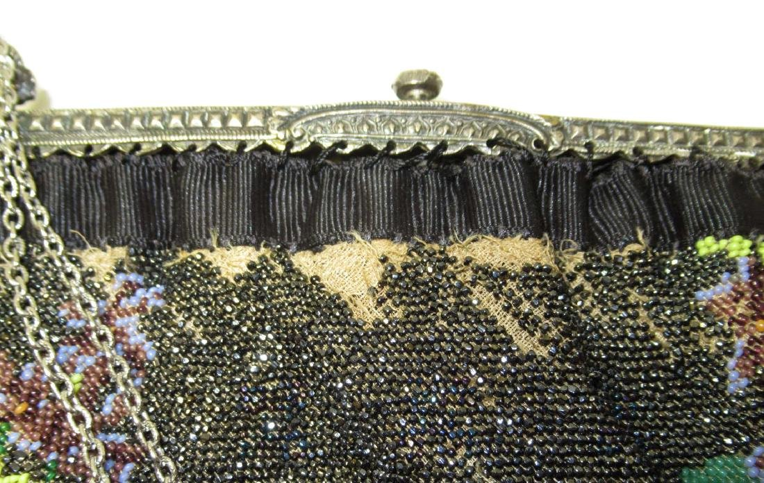 Antique Micro Beaded Rose Floral Bag - 5