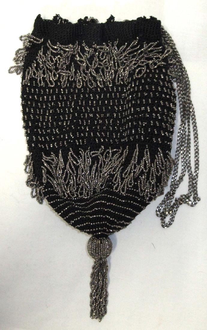 Antique Steel Beaded Drawstring Bag