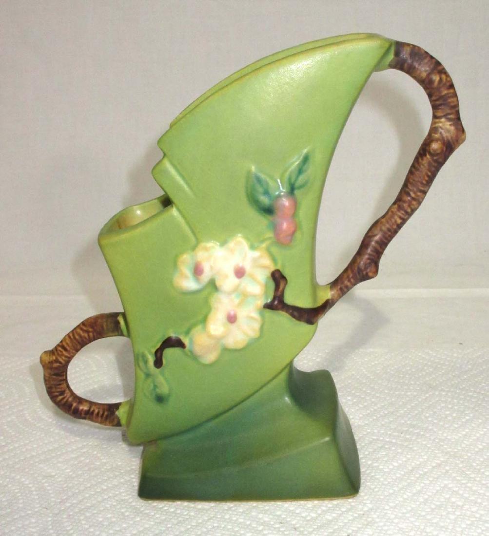 Roseville Apple Blossom Fan Vase 373-7