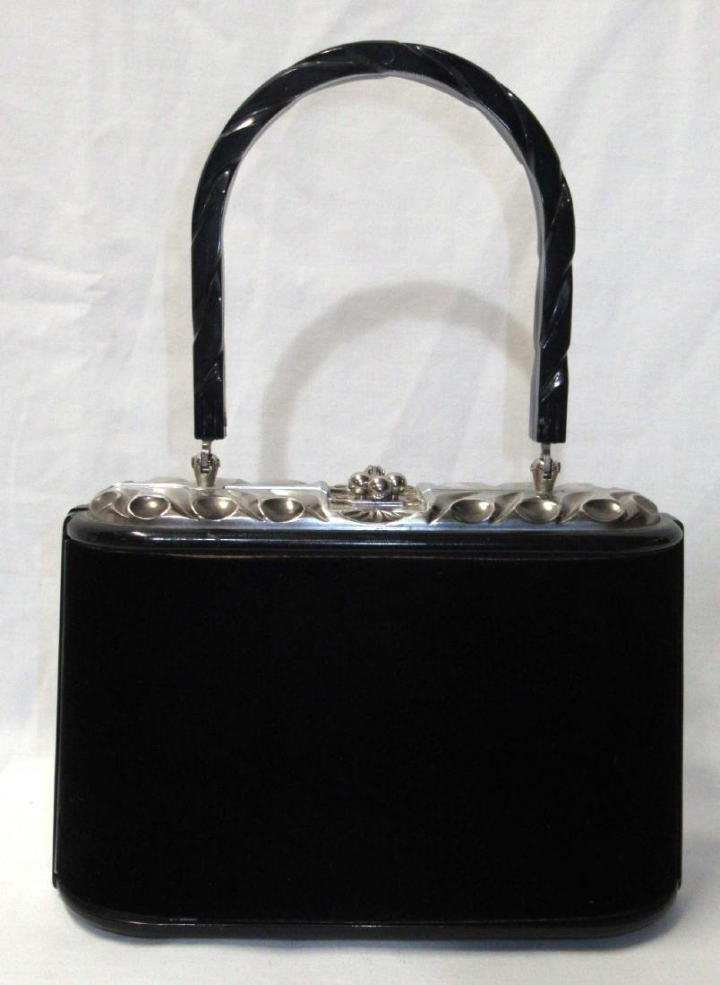 1950's Unusual Lucite Velvet Covered Handbag