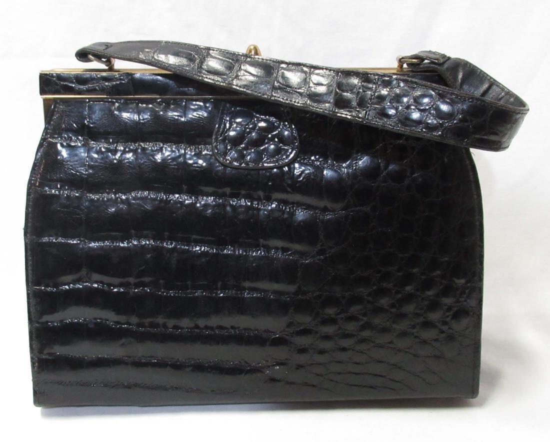 1960's Vintage Vassar Alligator Black Purse,  Leather