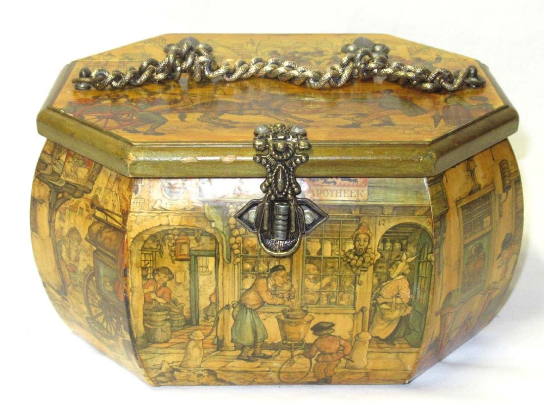 1960's Anton Pieck Scene Decoupage Box Purse. Octogen