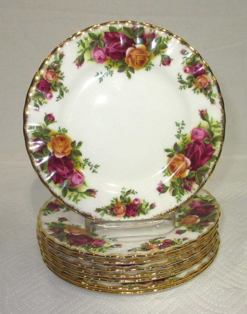 "8pc Royal Albert ""Old Country Rose"" Plates"