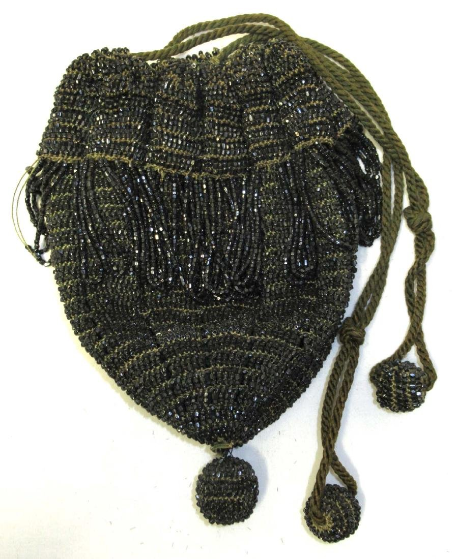 Antique Heavily Beaded w/Black Iridescent Beads